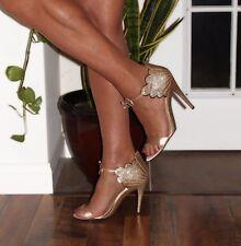 "5"" NINE WEST Carly Gold Sandals New SIZE 12 - Drag Queen Crossdresser CD TV TS"