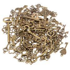 125pcs Creative Vintage Bronze Skeleton Keys Fancy Heart Bow Pendant Decor Us