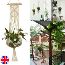 More details for macrame plant hanger flower pot holder hanging jute rope wall art garden uk