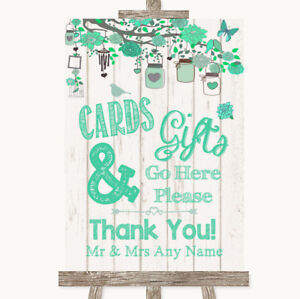 Wedding Sign Poster Print Green Rustic Wood Cards & Gifts Table