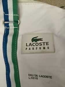 """Lacoste Parfums 20"""" x 12"""" Weekender Duffle Gym Bag White Shoulder Carry"""