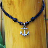 Leather Necklace Mens Women Anchor Rockabilly