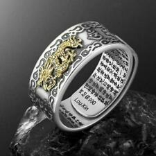 FENG SHUI PIXIU MANI MANTRA PROTECTION WEALTH RING SILVER