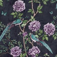 Paloma Maison Vintage Chinoiserie Floral Trail Oiseaux Papier Peint - Noir
