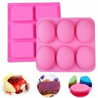 6 Cavity Rectangle/Oval Soap Mold Silicone Mould Tray for Homemade DIY Making