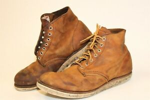 Red Wing Heritage Mens 9.5 D DISTRESSED Leather Lace Up USA Made Work Boots 9111