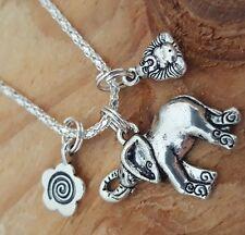 "Good Life Karma Spiral Flower Ganesh Elephant Buddha Silver Necklace 18"""