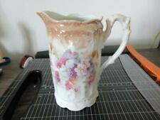 Antique Three Crown China Floral Grapes Motif Pitcher Ewer Made in Germany