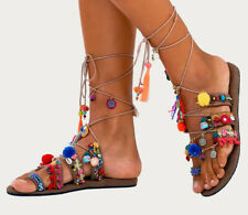 NWT Free People Thaikila KUHN M  7 / 8 Tan Multicolor Embellished Wrap Sandals