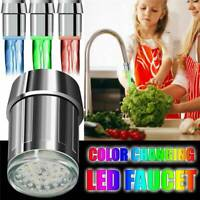 LED Water Stream Faucet Light Automatic 7 Colors Changing Shower Spout Sink US