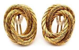 CARLO WEINGRILL 18 KT YELLOW GOLD TEXTURED EARRINGS CLIPS VINTAGE 1960 ITALY