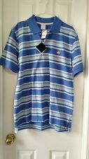NEW Mens Brooks Brothers Polo Slim Fit Blue Pink Stripe Short Sleeve Shirt L