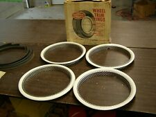 "NOS OEM Ford Rotunda 14"" White Wall Trim Rings Fairlane Galaxie Mustang Falcon +"