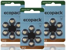 36 x Varta Ecopack Typ 312 Mercury Free Hörgerätebatterien PR41