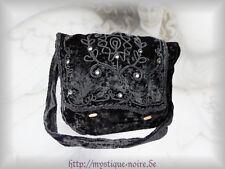 Große Samt Tasche schwarz Stickereien und Spiegeln Gothic Mittelalter Larp Wicca