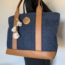Michael Kors Large Denim & Leather Fulton Satchel Shoulder Bag Hanbag Tote Purse