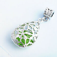 Womens Drop Silver White Gold Filled Green Crystal Flower Charm Pendant