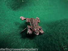 "925 Sterling Silver Leaping Ruby Eyed Frog with Marcasites 1"" Brooch Broach"
