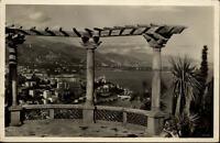 Monte Carlo Monaco Postkarte 1934 gelaufen Blick von der Terrasse Meer Palmen