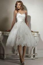 New White Lace Short Bridal Gown Wedding Dress Size UK 6-8-10-12-14-16-18-20++++