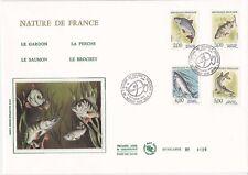 Enveloppe grand format 1er jour 1990 GF Soie Nature de France Série Poissons