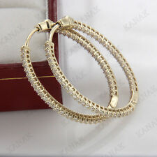 1 CT Diamond Round Shape Hoop Earrings In 14K Yellow Gold Over