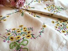 VINTAGE LINEN HAND EMBROIDERED FLORAL TABLECLOTH EXQUISITE RAISED EMBROIDERY