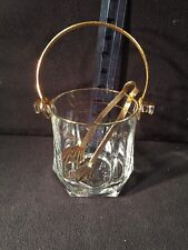 """Vintage Crystal Glass Gold Trim Small Ice Bucket 5 1/8"""" x 5 1/8"""" - Made In Italy"""