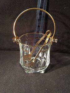Eloquent Lead Crystal Ice Bucket Gold Trim Thick Glass Gold Tongs & Handle Italy