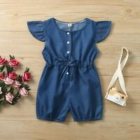 Baby Girls Kids Toddler Denim Short Sleeve Bow Jumpsuit Romper Clothes