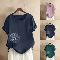 ZANZEA Women Summer Short Sleeve Top Tee T Shirt Pullover Holiday Floral Blouse