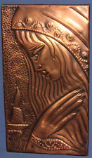 VINTAGE RELIGIOUS HAND MADE COPPER WALL DECOR PLAQUE PRAYING WOMAN