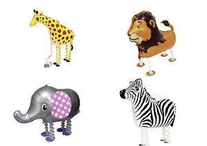 SAFARI ANIMALS  Walking Balloons Party Pack of 4-Giraffe, Lion, Zebra, Elephant