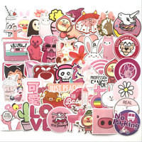 50Pcs/Set Cute Pink Stickers Decals Skateboard Car Luggage Laptop PVC Waterproof