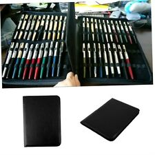 Fountain Pen/Roller Pen Black Color PU Leather Zipper Case for 48 Pens NYGH