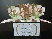 Handmade 3D Card in a box -50th/Golden  Anniversary/Birthday- Gold blossoms