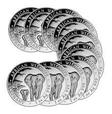 2015 1 oz Silver Somalian Elephant Coin - 10 oz Total .999 fine (BU, Lot of 10)