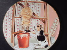1989 Royal Worcester Mixed Company A STICKY SITUATION Ltd Ed Plate Cat & Dog