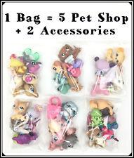 1 Bag Littlest Pet Shop Lot Bundle 5 Random With 1 Dog or Cat + 2 Accessories