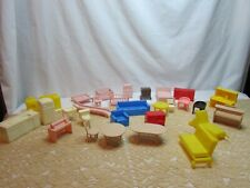 New ListingHuge Vintage Lot Tiny Plastic Dollhouse Furniture~Nursery Living Room Kitchen +