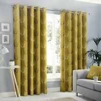 "Fusion ""Delta"" Geometric Floral 100% Cotton Fully Lined Eyelet Curtains Ochre"