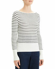 Theory Striped Boatneck Women's Sweater Small Ivory Black Roving Viscose $355
