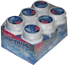 6 Tubs Mentos Chewing Gum White Peppermint (Blue)