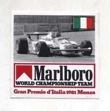 Adesivo Formula 1 GRAN PREMIO D'ITALIA 1981 Monza MARLBORO TEAM F1 sticker Alfa