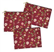 S4Sassy Floral Multipurpose Cosmetic Pouch Pencil Case Makeup Bag 3 Pcs-FL-607D