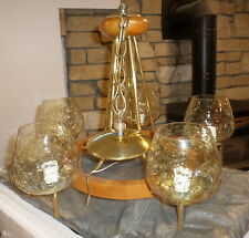 Lovely Mid Century Modern Vintage Wooden Electric Hanging Chandelier Light