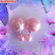 Modern Fashionable Pink Stroke & Stripe Double Stud Earrings - Simulated Pearls