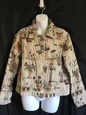 WINDING RIVER Beige Tapestry Country Floral Motif Jacket 100% Cotton - Sz Medium