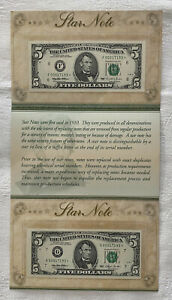 TWO BEP 1993 1995 STAR $5 Federal Reserve SAME VERY LOW SERIAL NUMBER  OGP