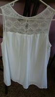 AB Studio Womens Tank Top Shell - White- lined - size  XL XLARGE - CLEAN
